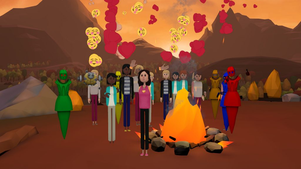 Users gathering around fire in AltSpace VR