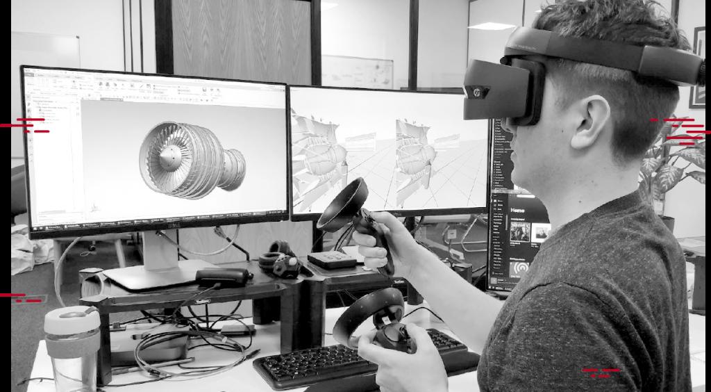 Designer Using VR Headset